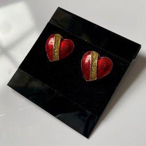 Vintage Royal Heart Post Earrings